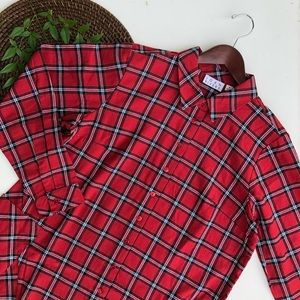 Joan Rivers Red Plaid Tunic Button Up Long Medium